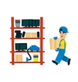 Worker Bringing Box To Store On The Shelf vector image