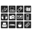 Black Hi-tech technical equipment icons vector image