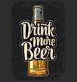 bottle and drink more beer lettering vector image
