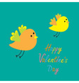Happy Valentines Day Love card Two flying cartoon vector image