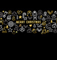 Merry christmas pattern with gold line icons vector image