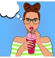 Pop art cute woman drinks cocktail vector image