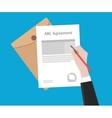 Signing important agreement letter with a pen vector image