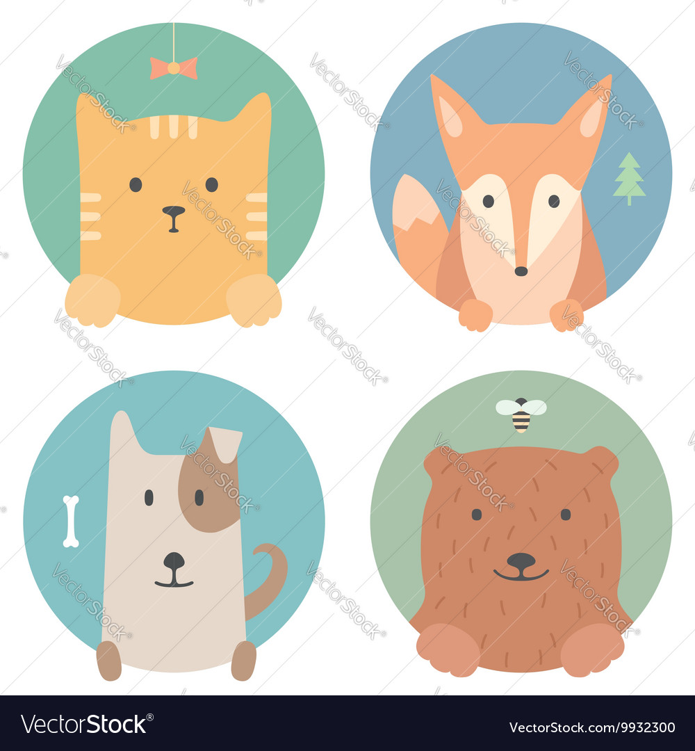 Animal set portrait in flat graphics cat fox vector