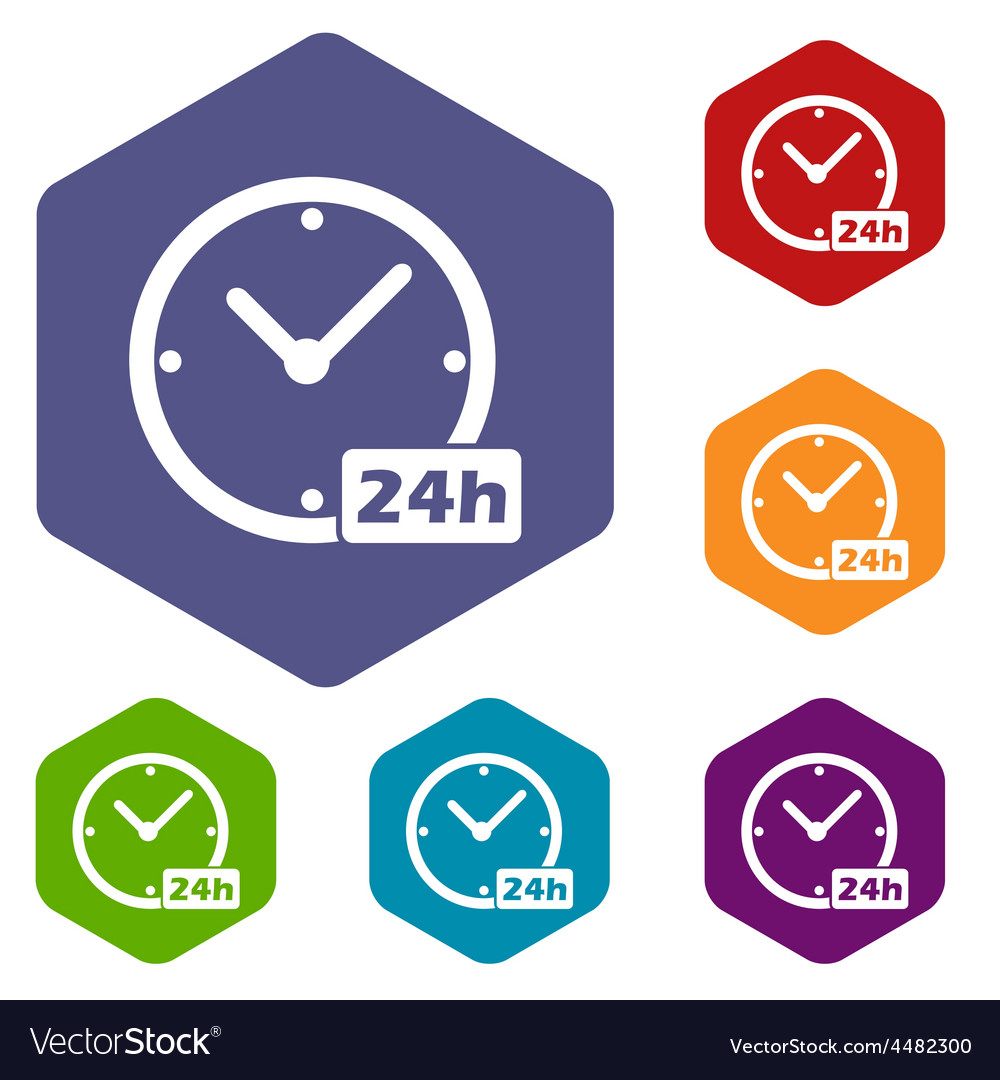 Clock rhombus icons vector