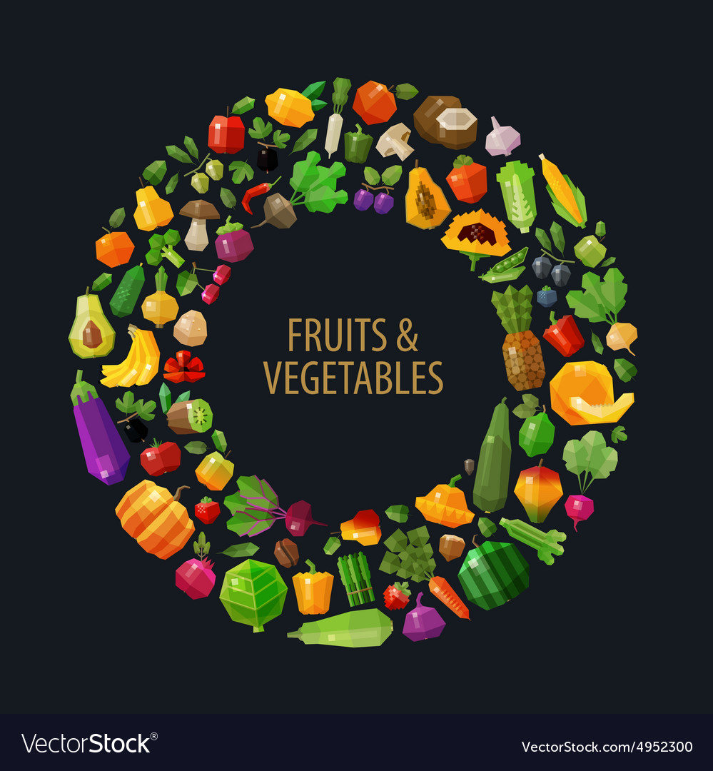 Fresh fruits and vegetables in the circle vector