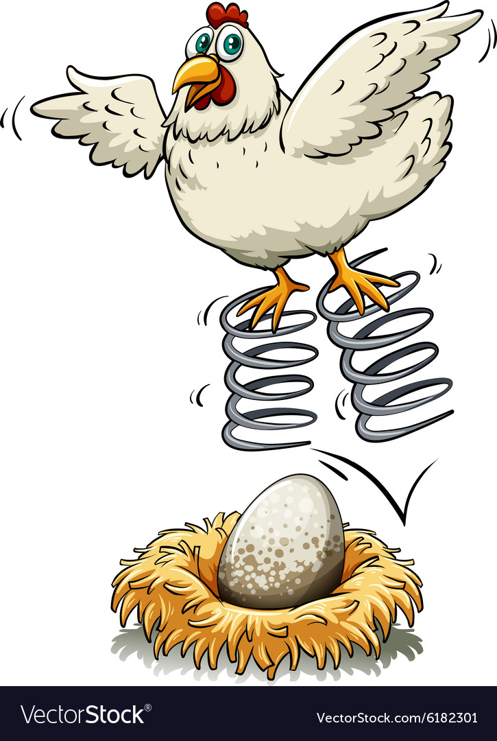 Chicken bouncing on spring over an egg vector