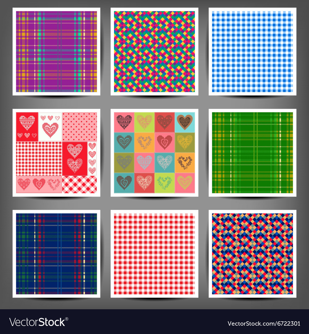 Set seamless patterns of hearts and squares vector