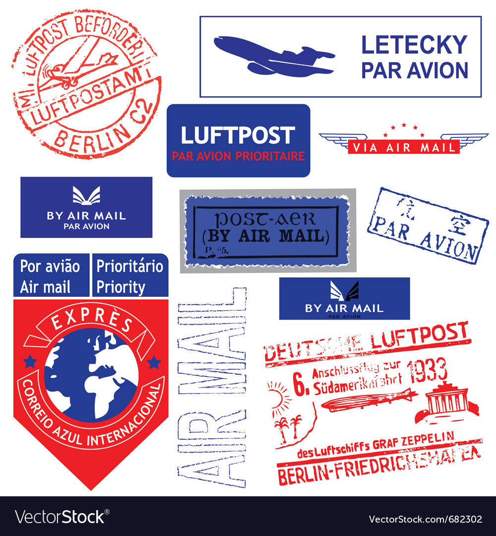 Air mail stamp set vector