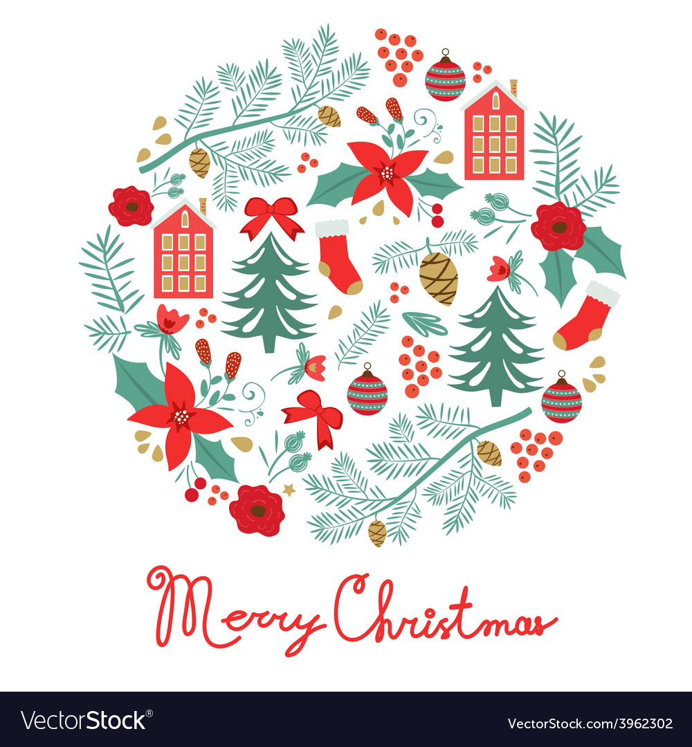 Merry christmas round composition vector