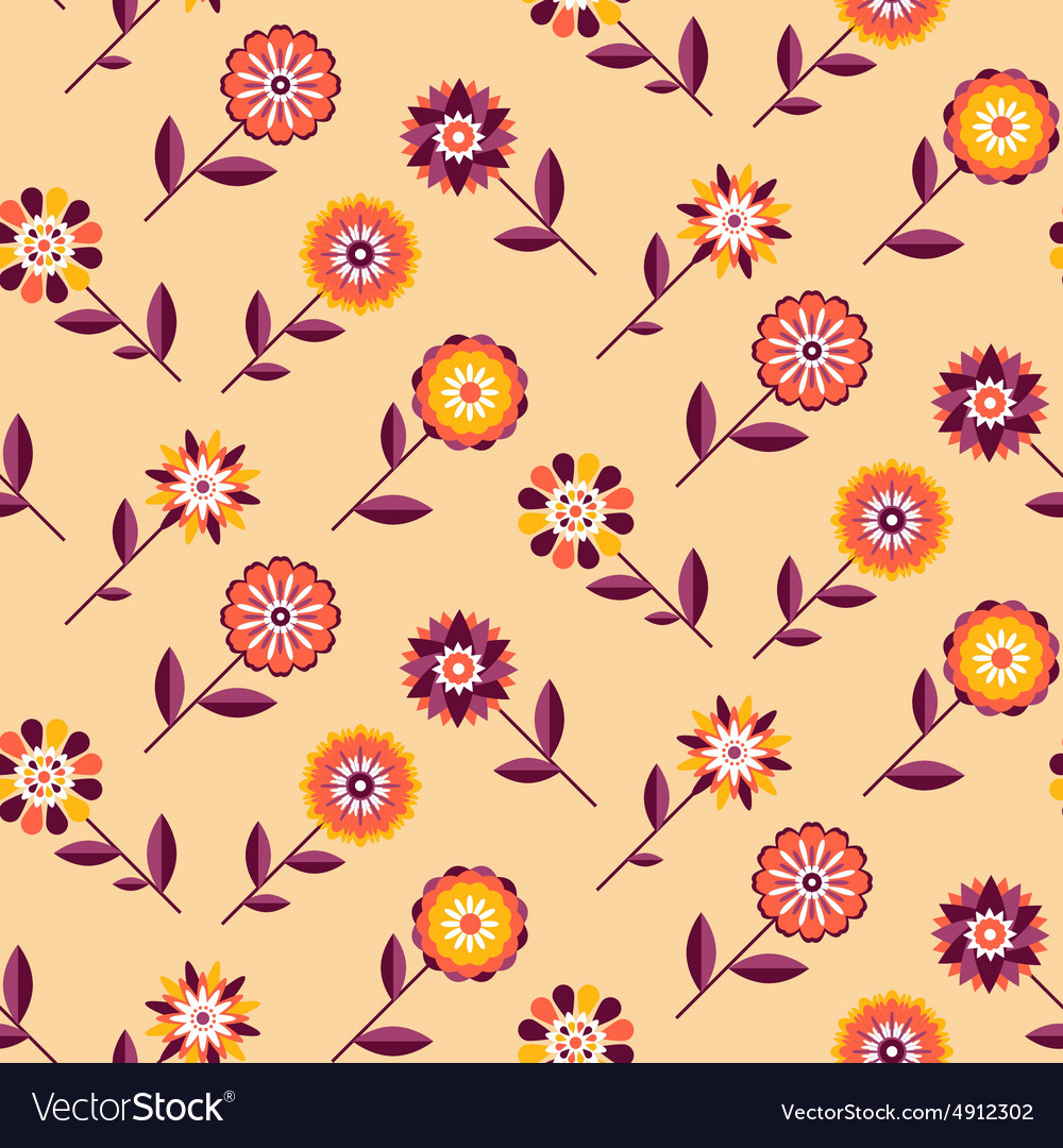 Seamless retro pattern of different colored summer vector