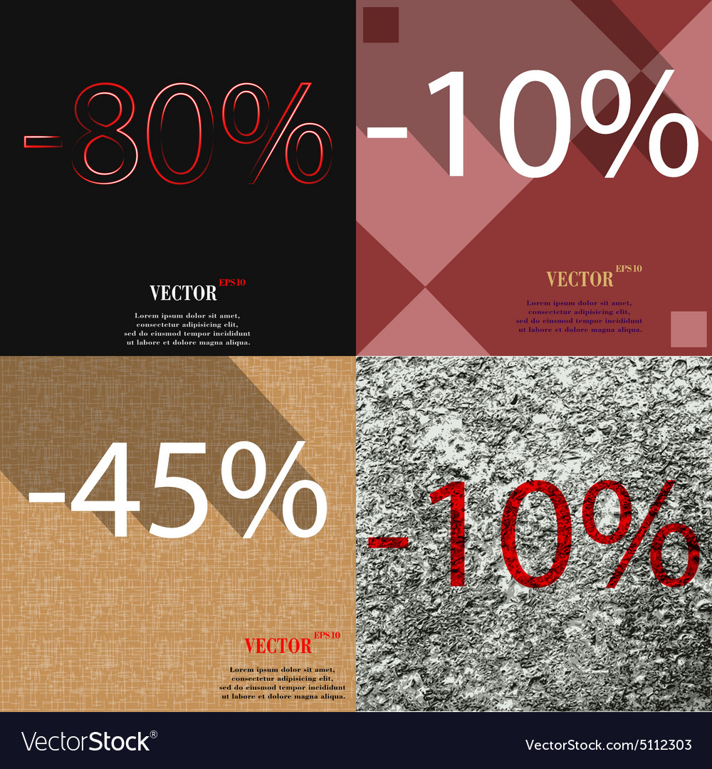 10 45 10 icon set of percent discount on abstract vector