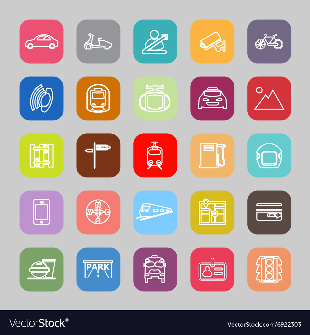 Land transport related line flat icons vector