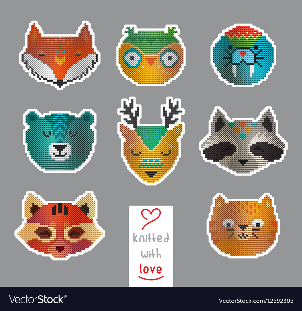 Knitted with love vector