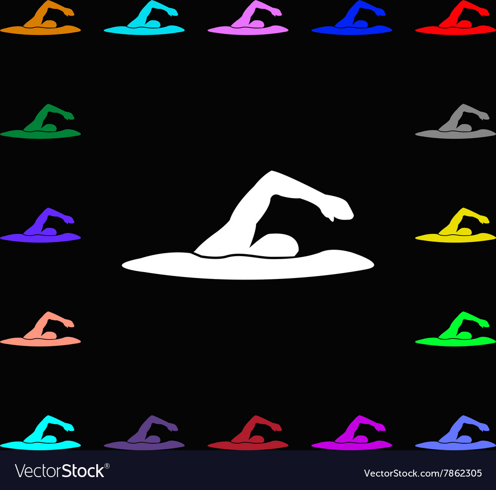 Swimmer icon sign lots of colorful symbols for vector