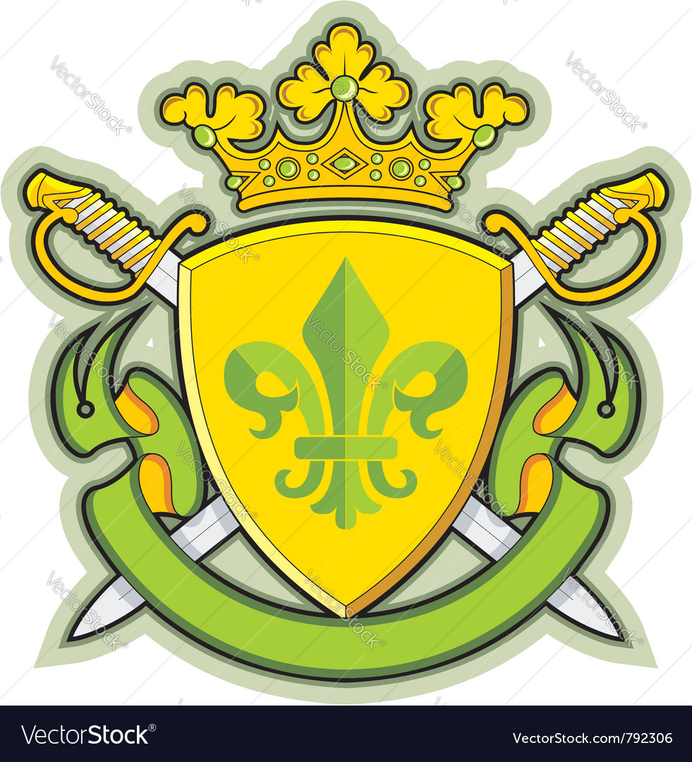 Heraldic shield ribbons crown and sword vector