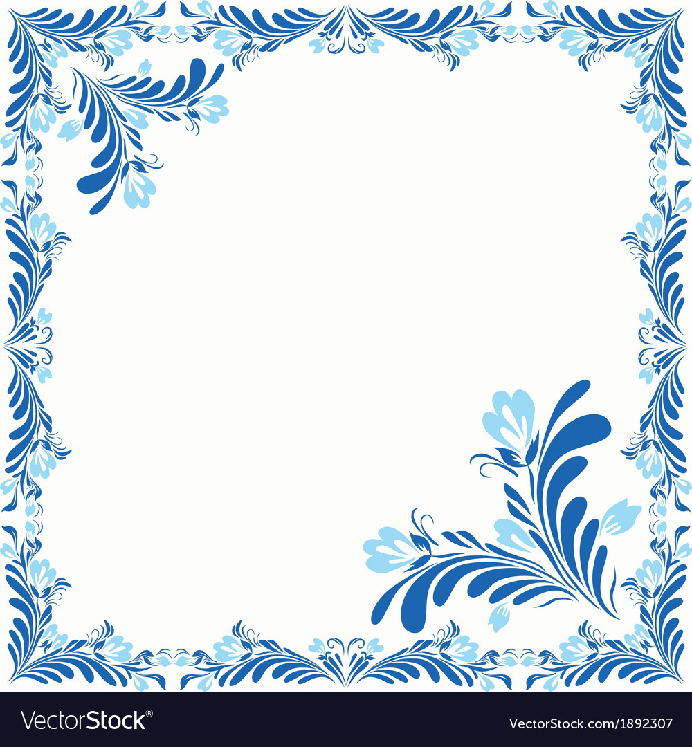 Frame with abstract flowers vector