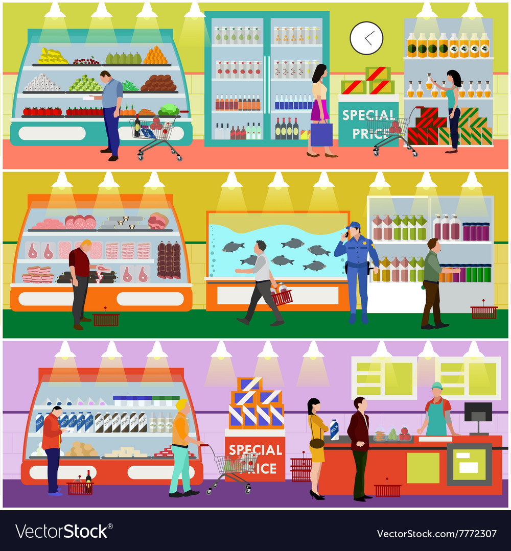 Supermarket interior flat vector