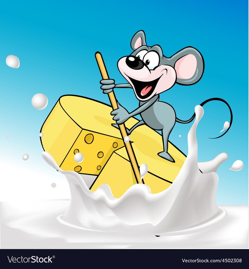 Mouse sails on raft cheese  vector