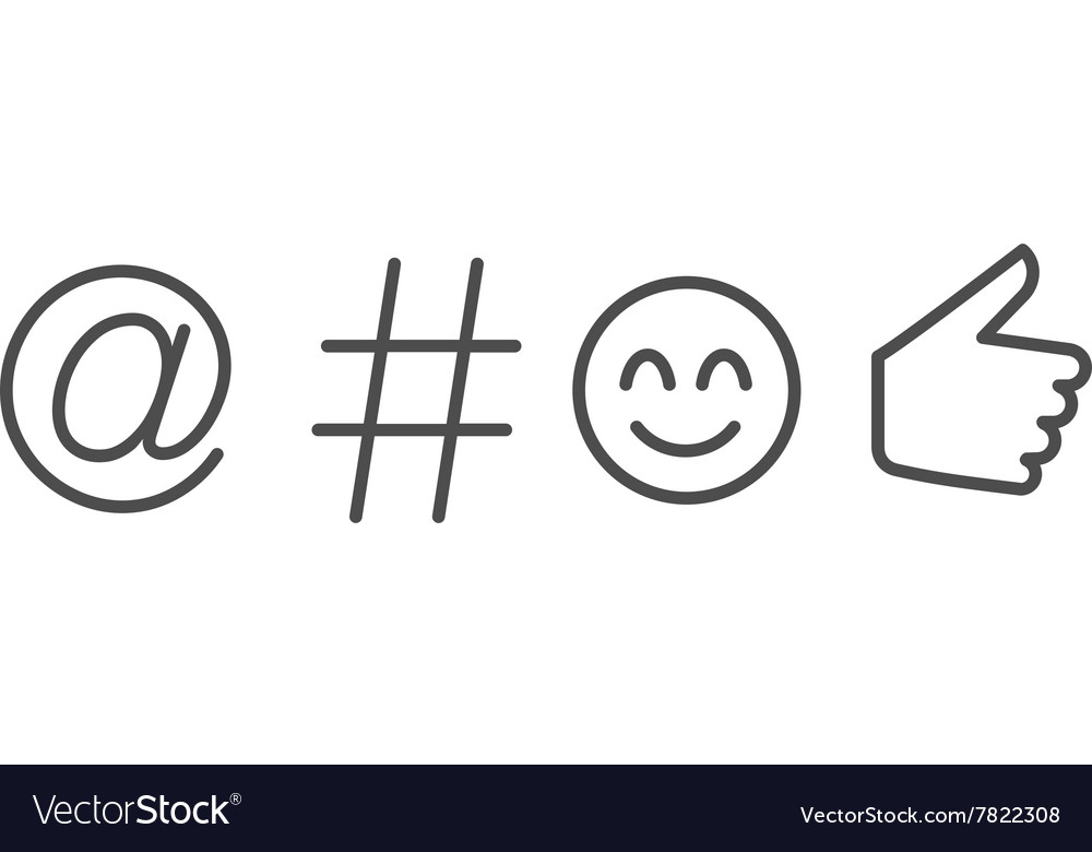 Social media language symbols and icon vector