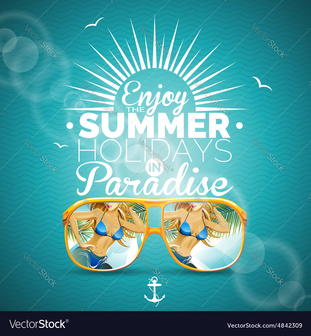 Summer with sexy girl and sunglasses vector