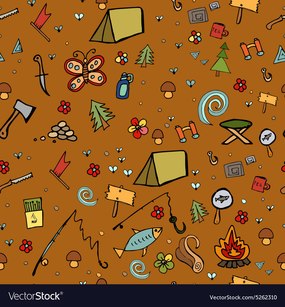 Camping  doodles collection hand drawn camping vector