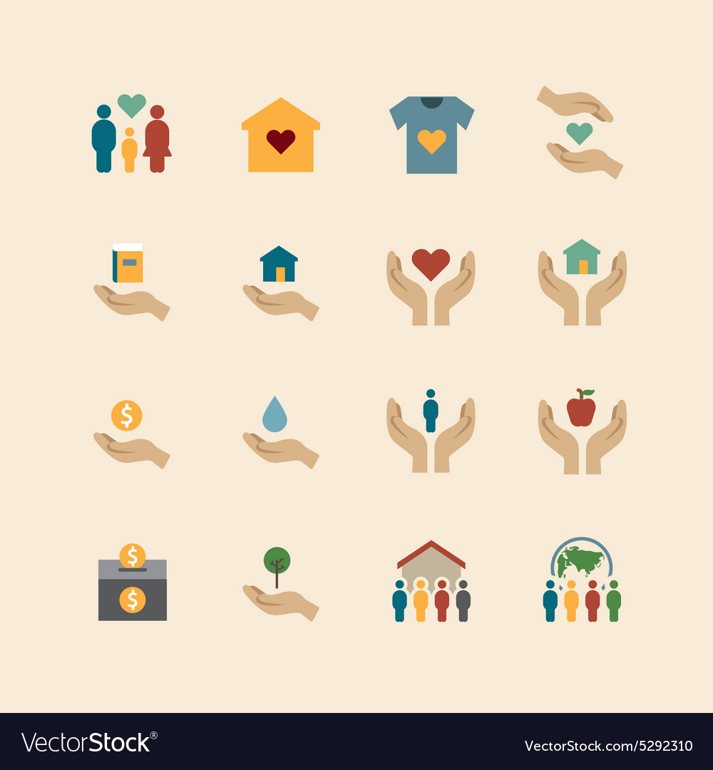 Charity and donation silhouette colour icons vector