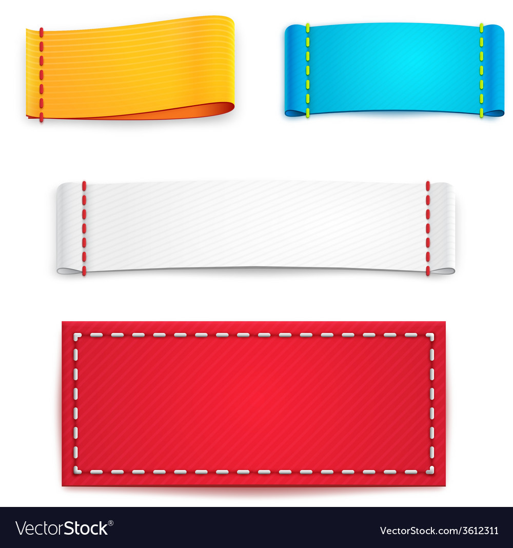 Colorful blank fabric labels or badges vector