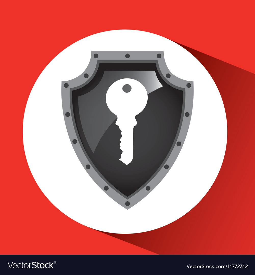 Hand holding key security shield data vector