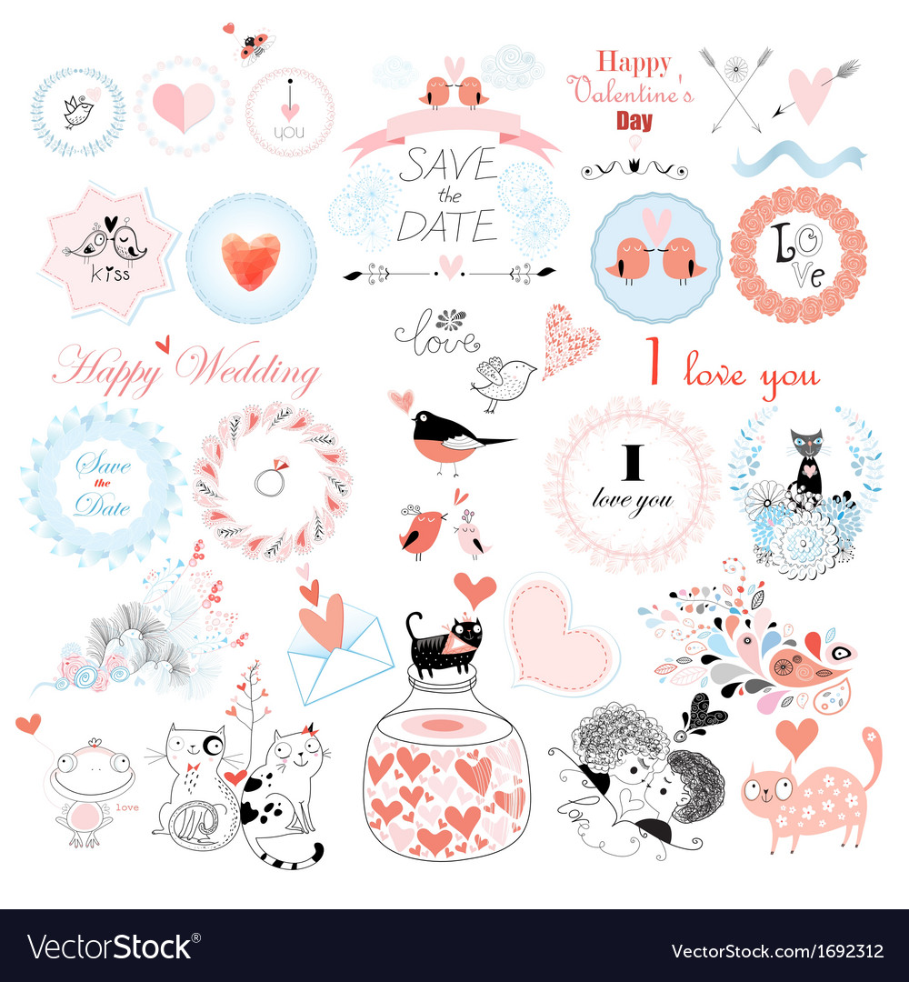 Stok vektor love holiday sets vector