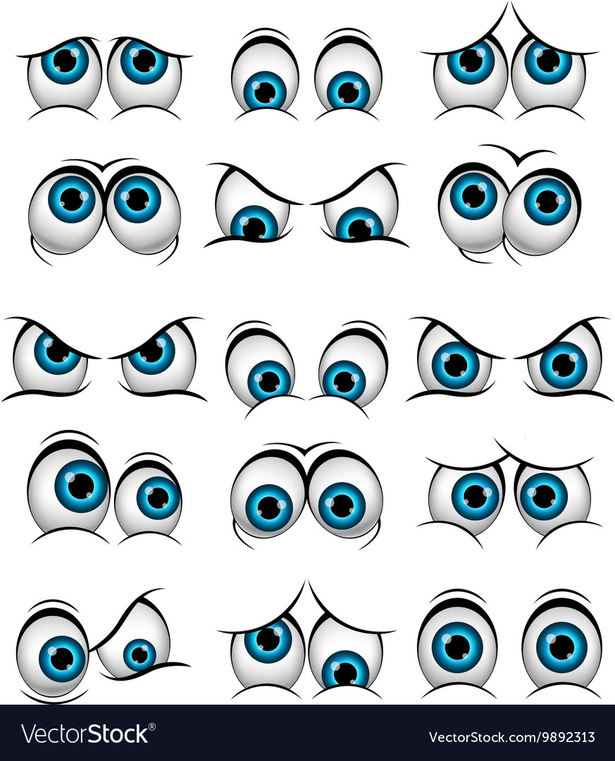 Cartoon faces with various expressions vector
