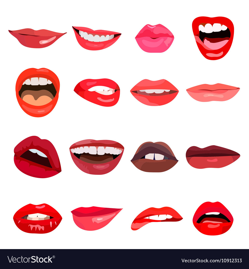 Lips set lip design element vector