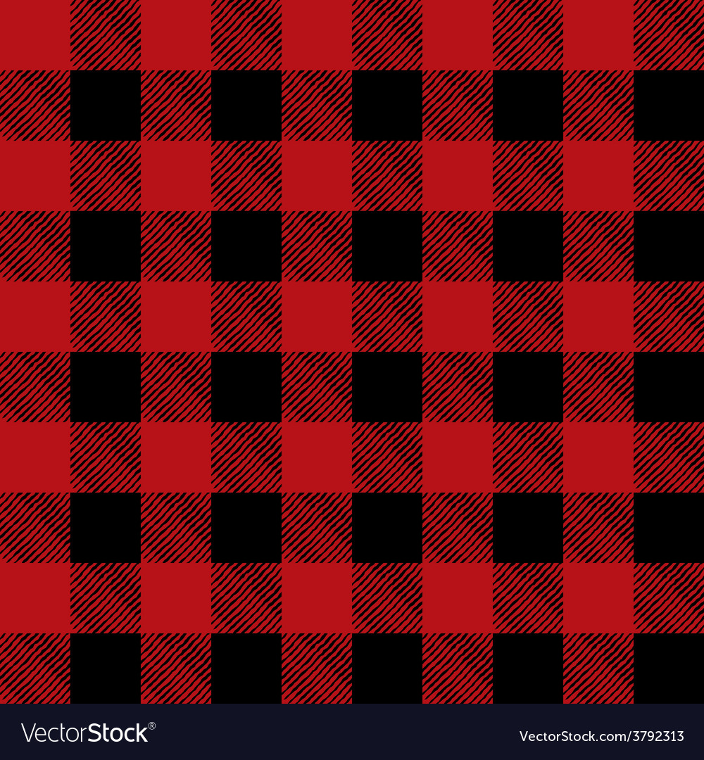 Read and black flannel tile pattern vector
