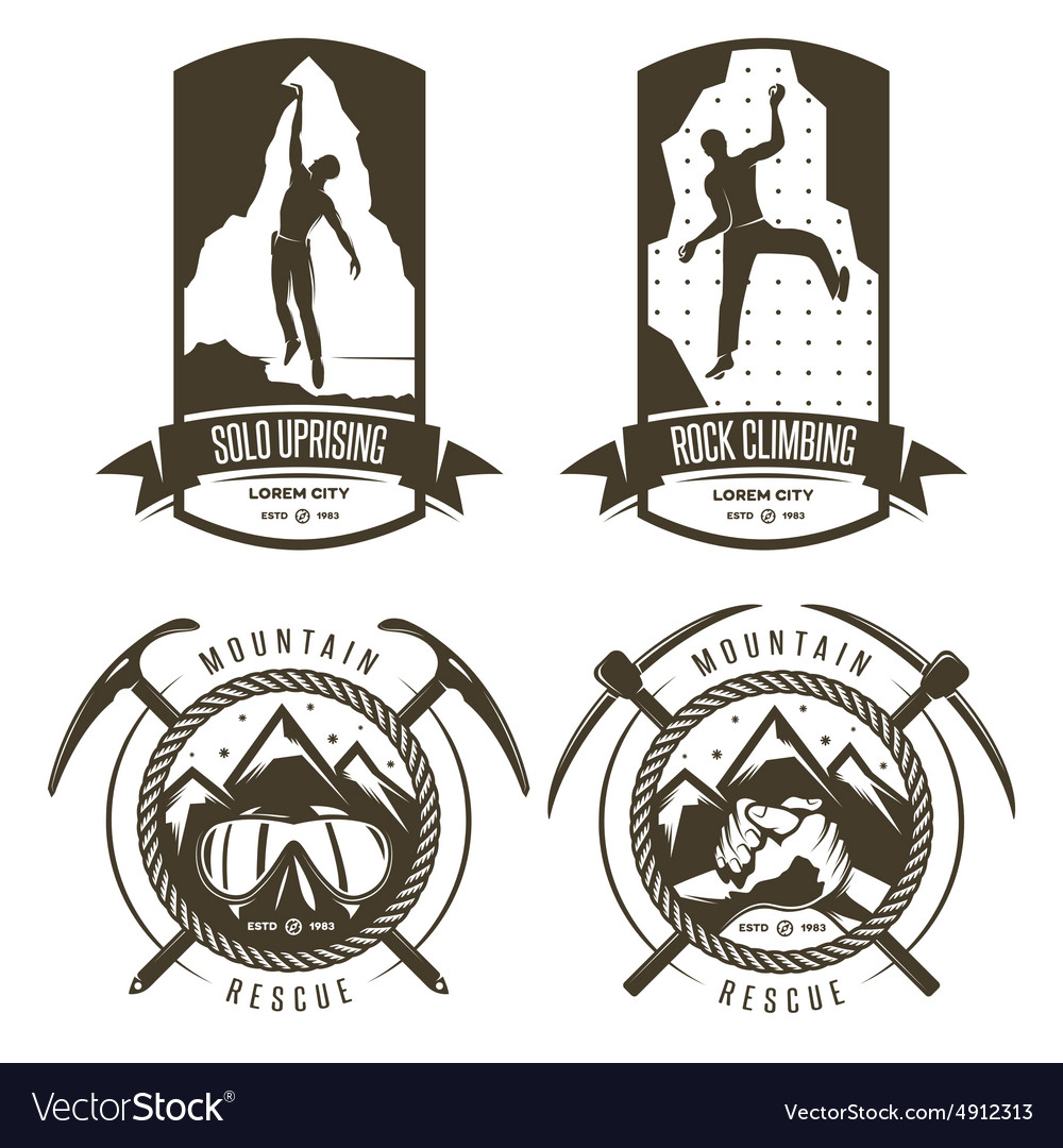 Rock climbing and mountain rescue vintage labels vector