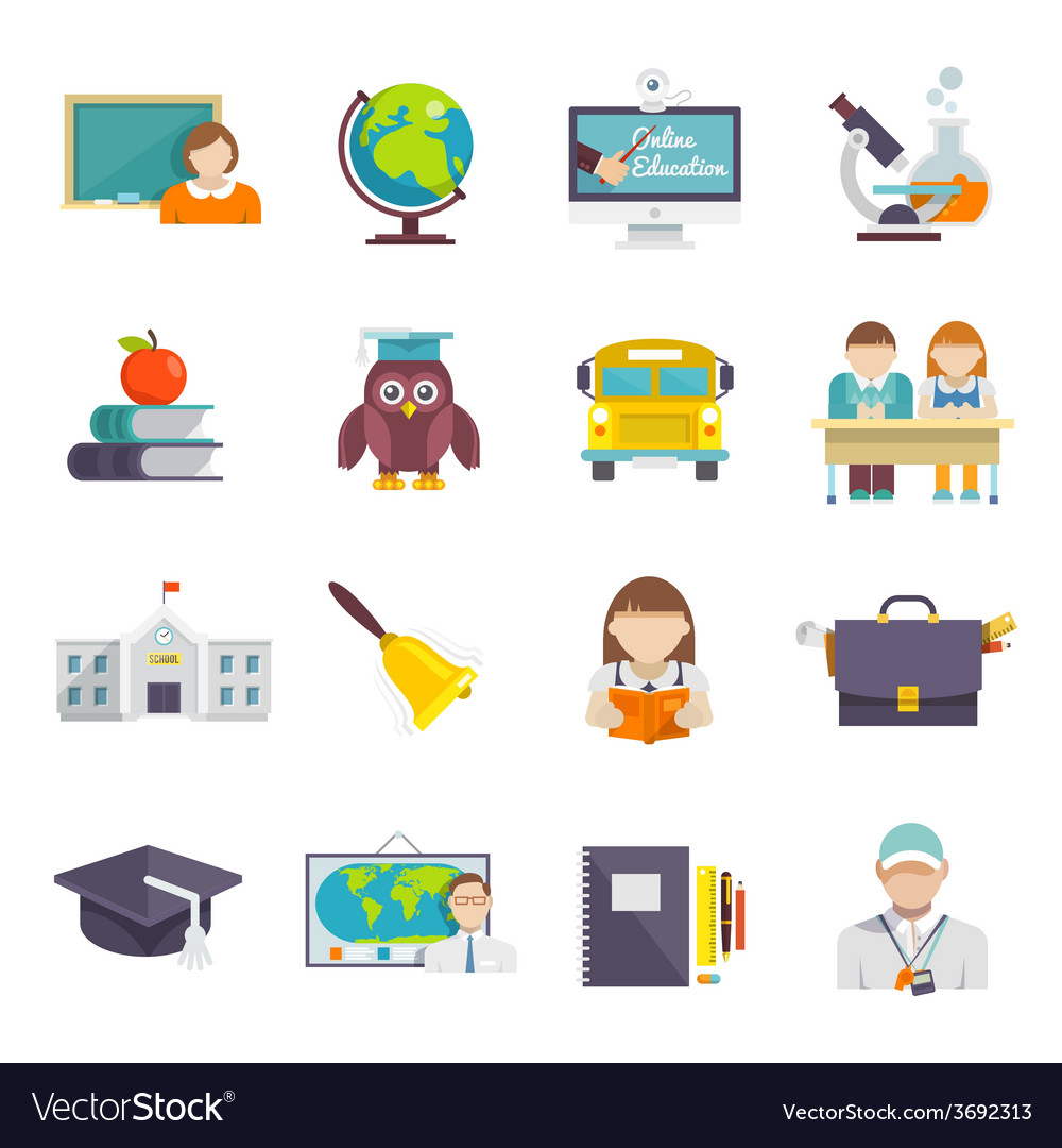 School icon flat vector