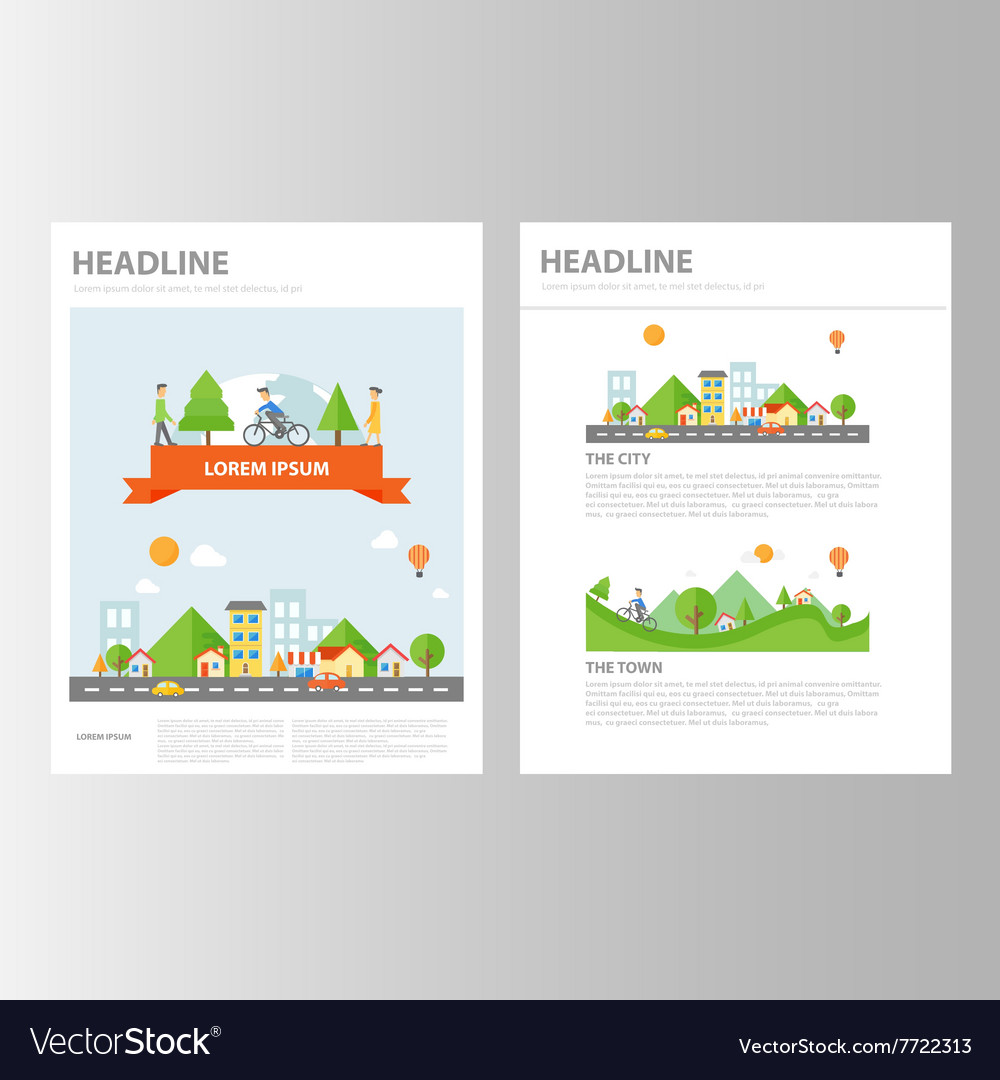 Small town brochure flyer leaflet presentation set vector