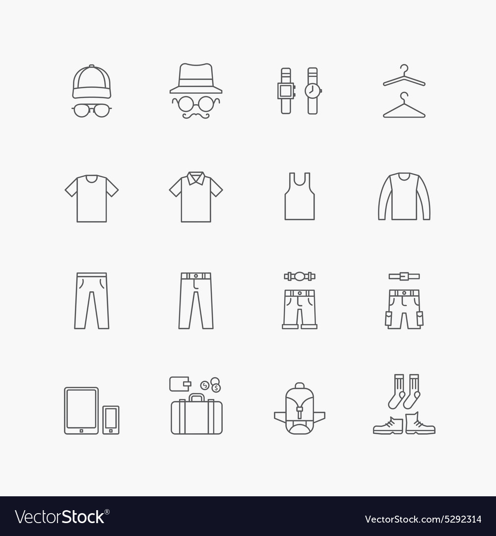 Linear web icons set  man clothing store vector