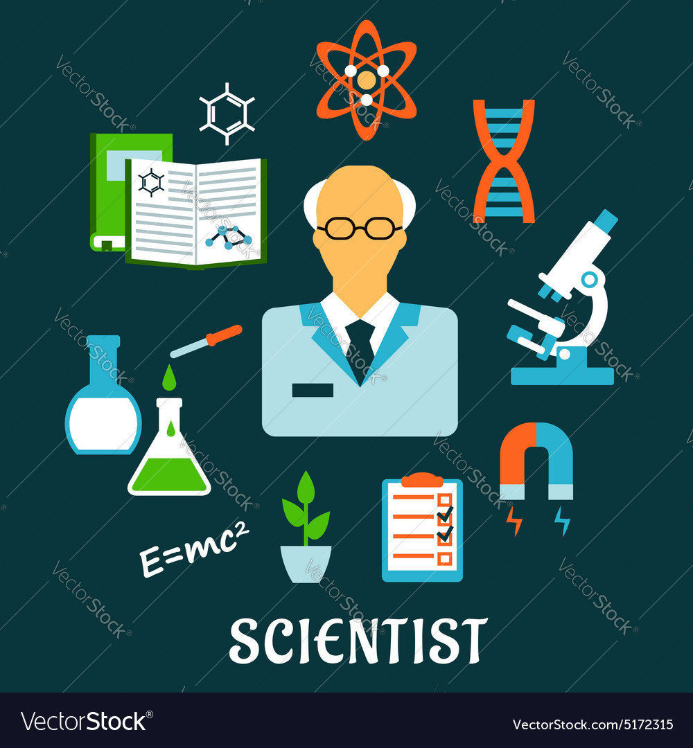 Scientist with research and science flat icons vector