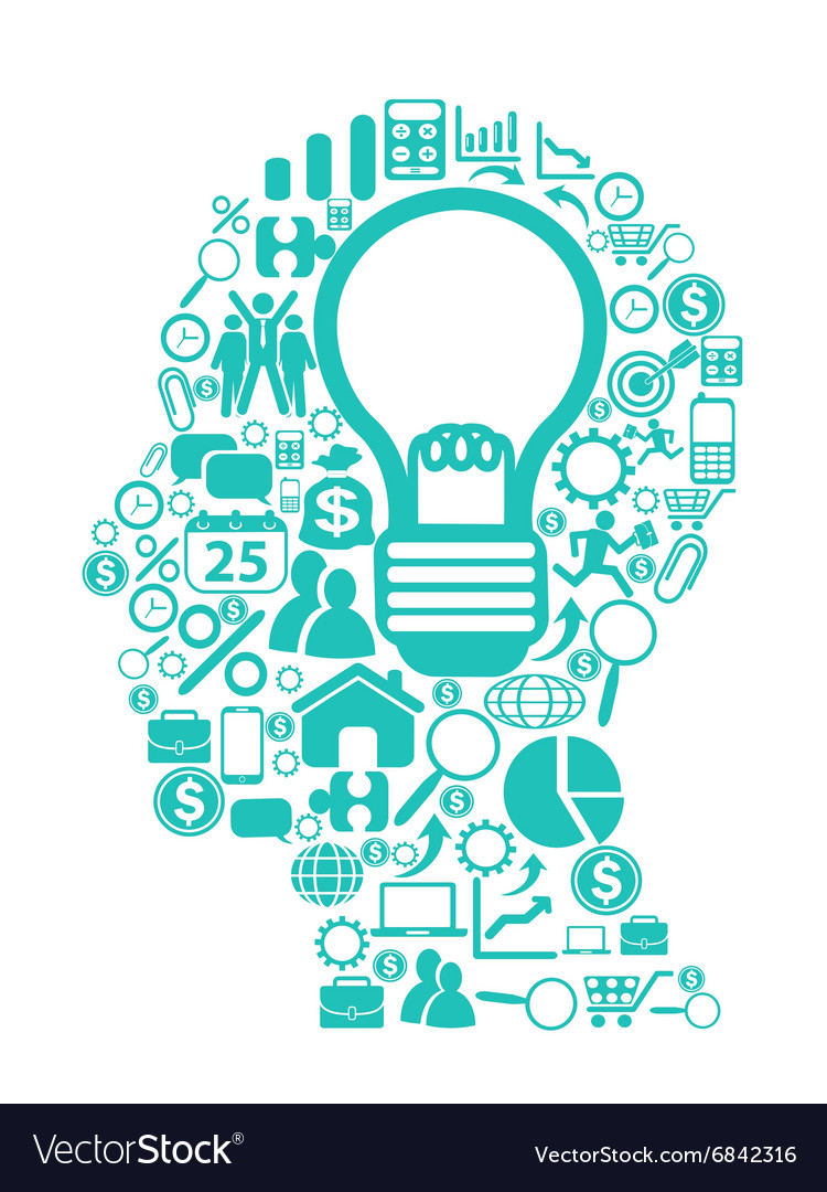 Blue light bulb with icons in head vector