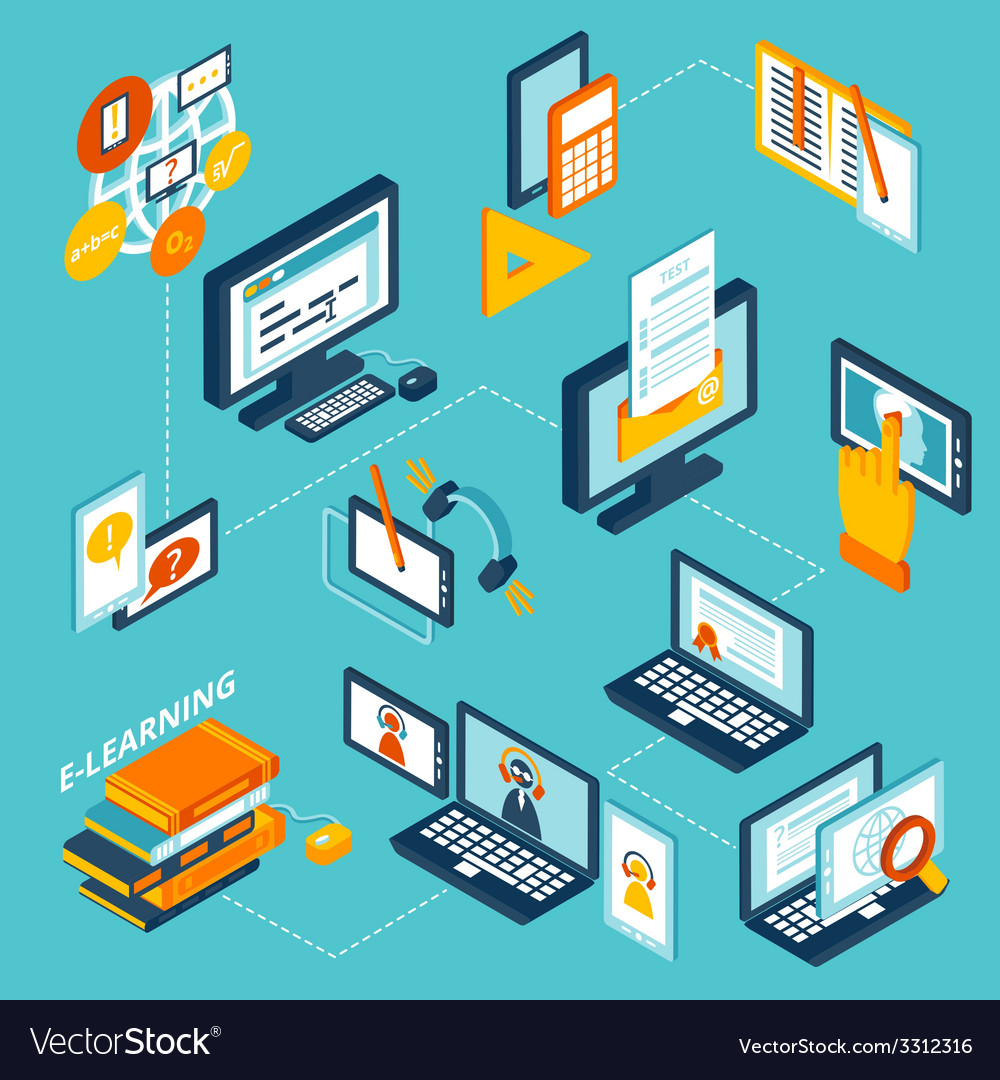 Elearning icons isometric vector