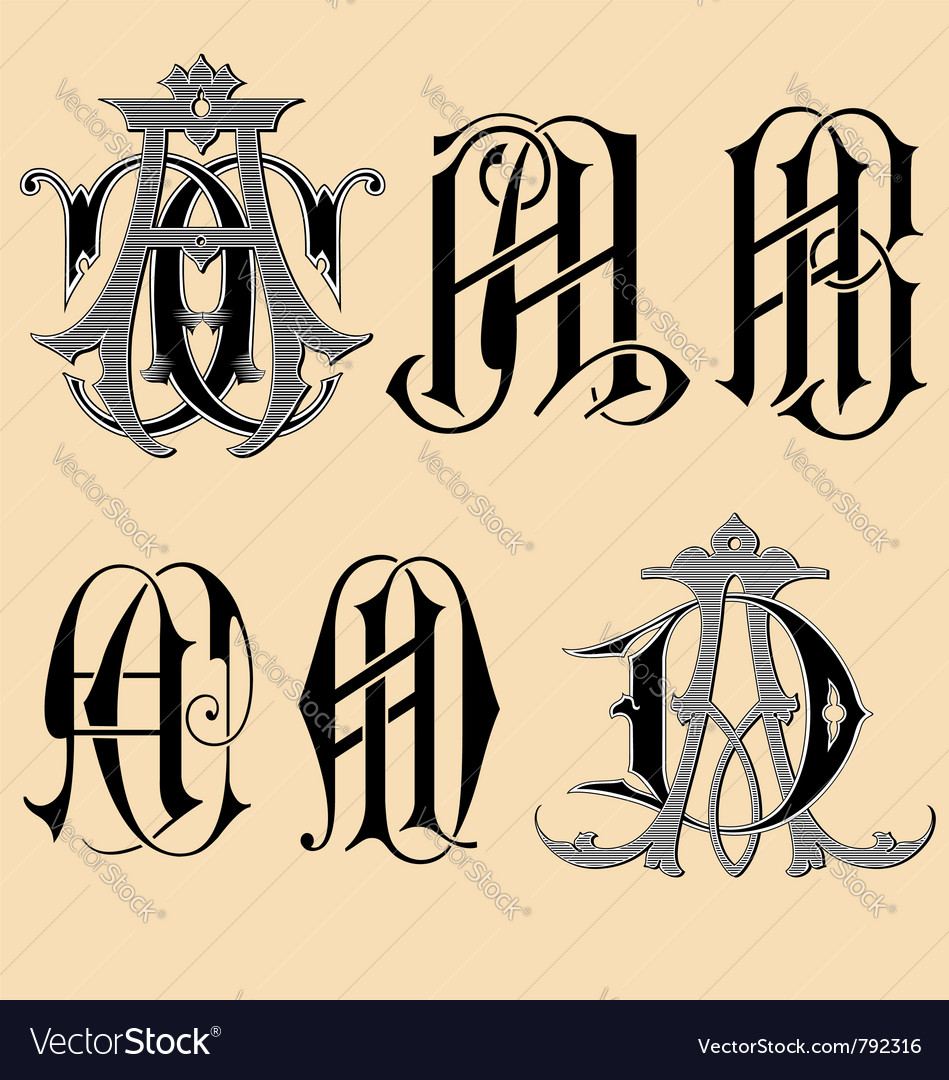 Vintage monogram aaabacad tattoo vector