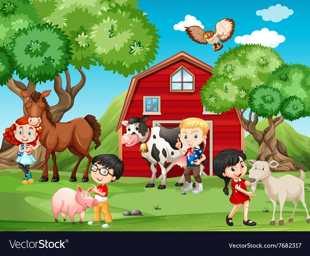 Children and farm animals vector