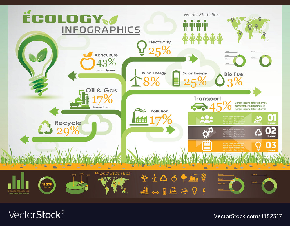 Ecology infographics icons collection vector