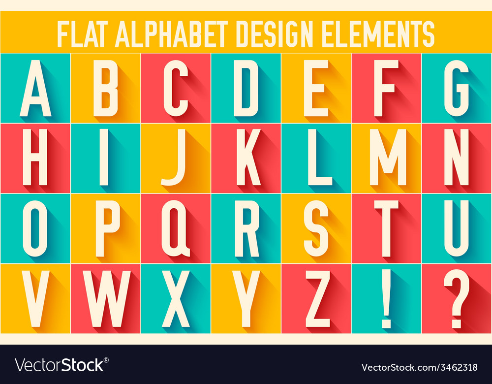 Flat colorful letter of the alphabet design vector