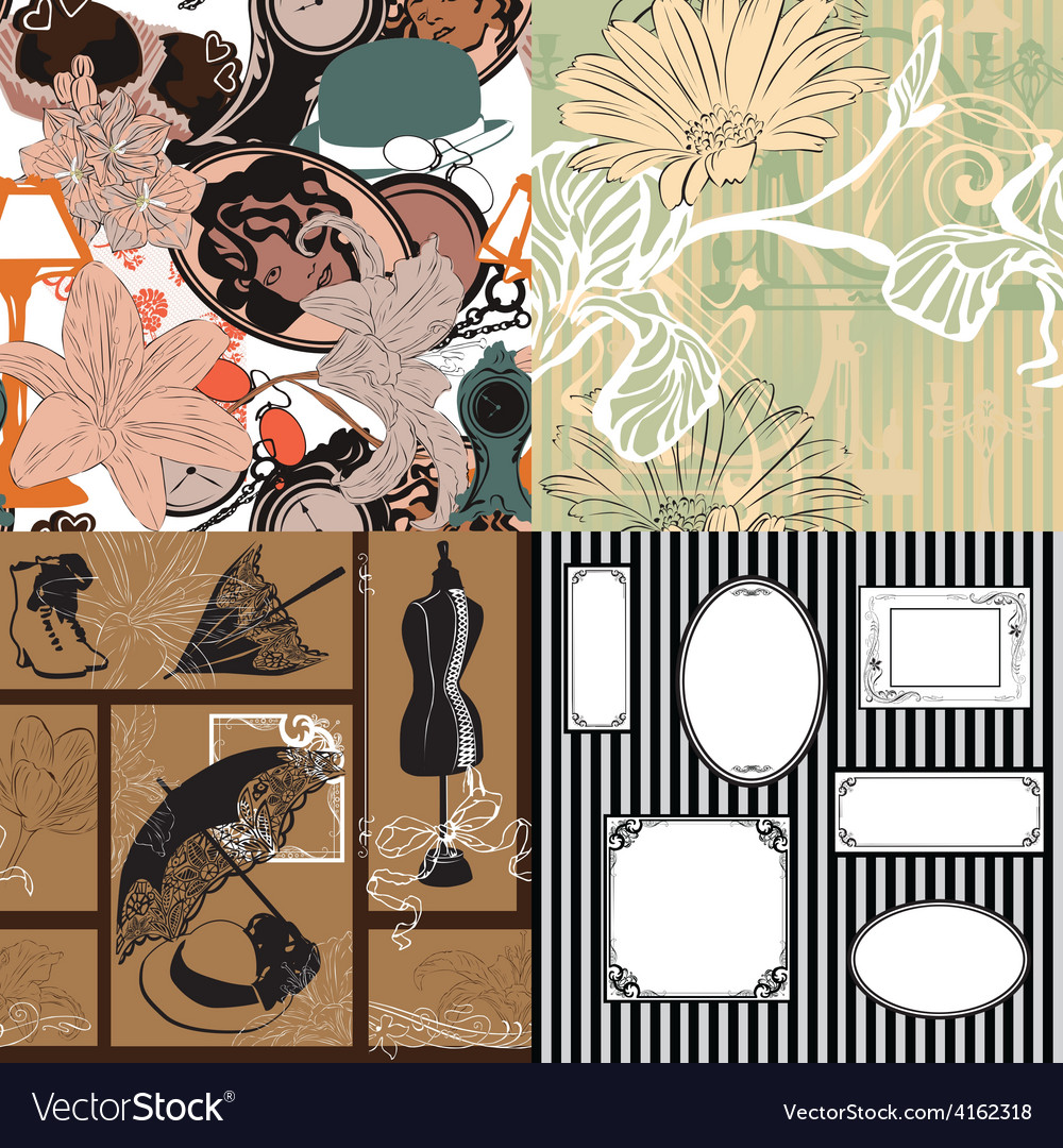 Four seamless pattern with vintage objects vector