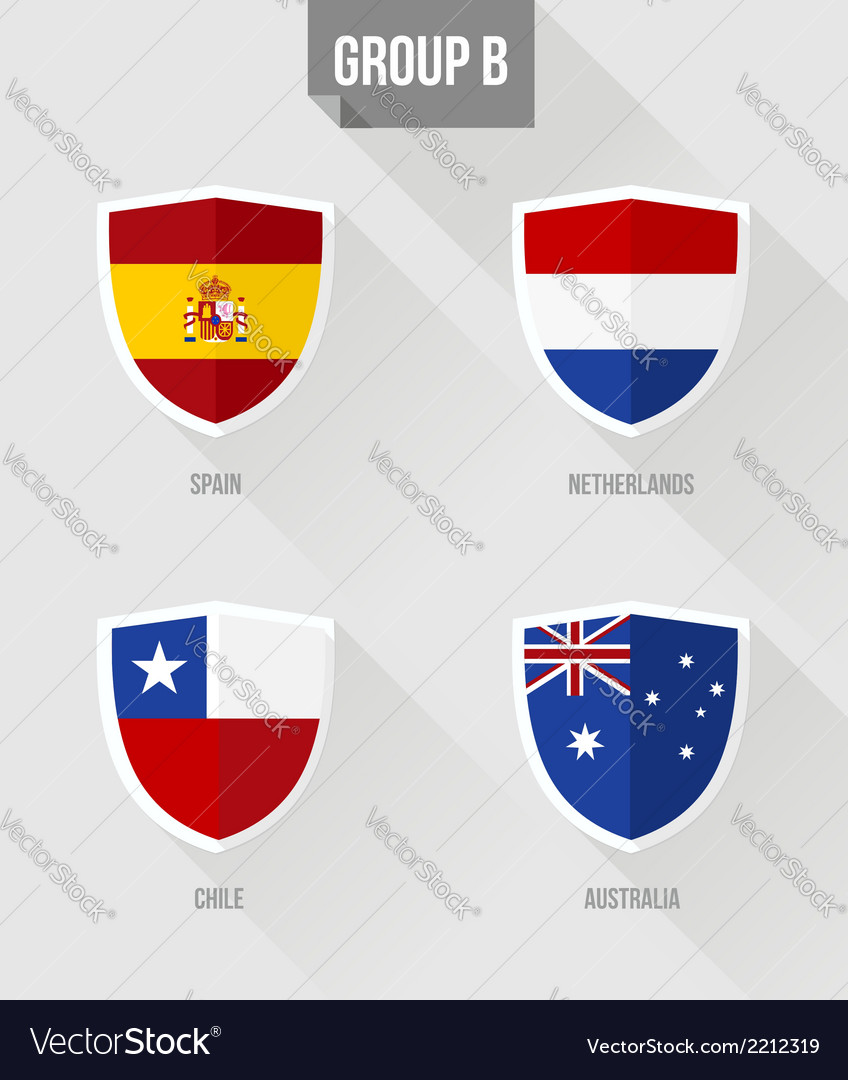 Brazil soccer championship 2014 group b flags vector