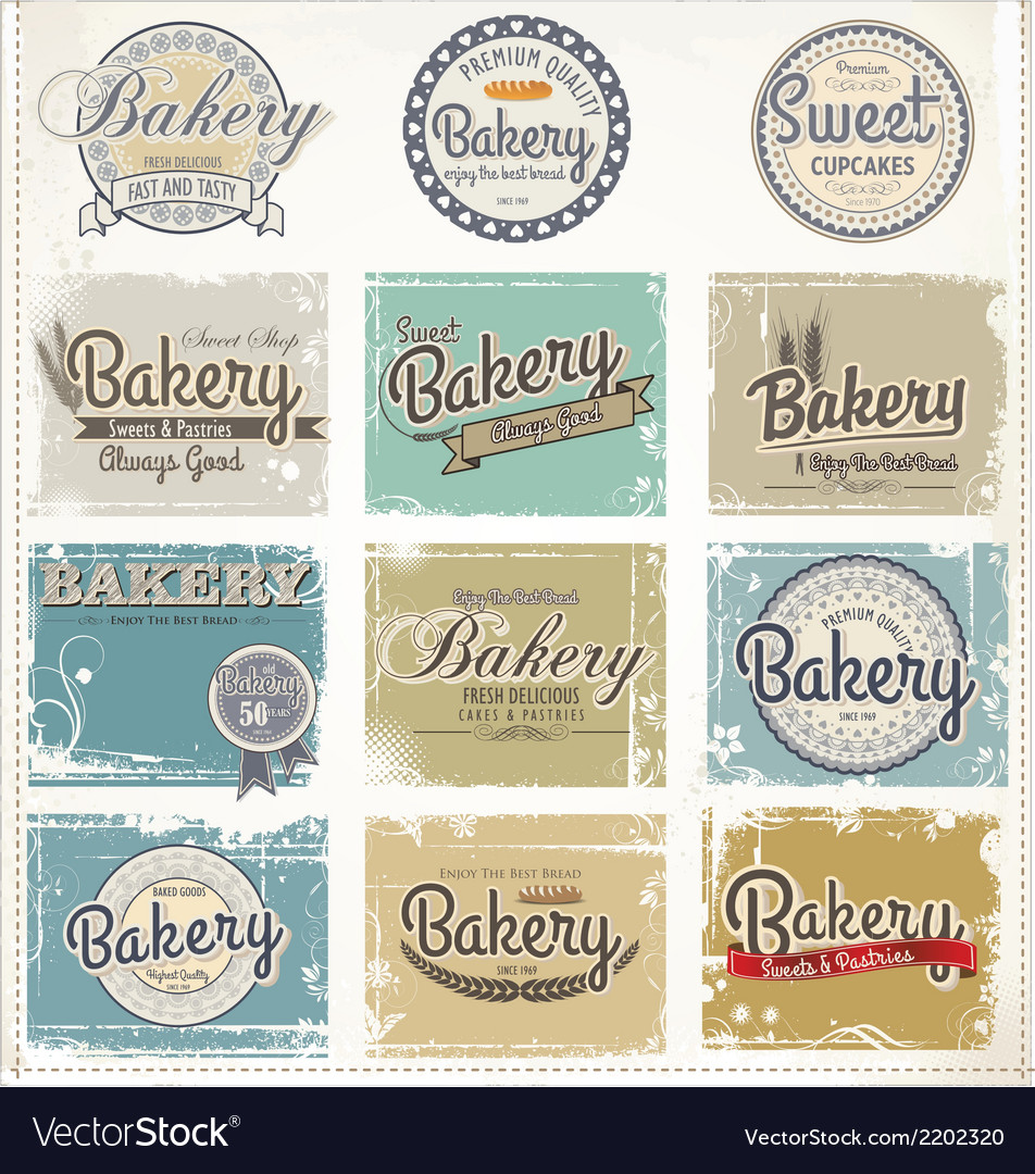 Bakery labels retro style set vector