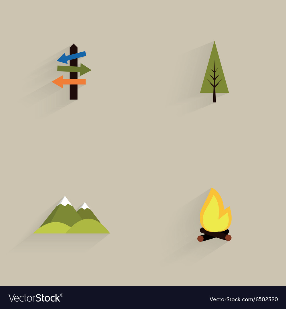 Mountain camping icons vector