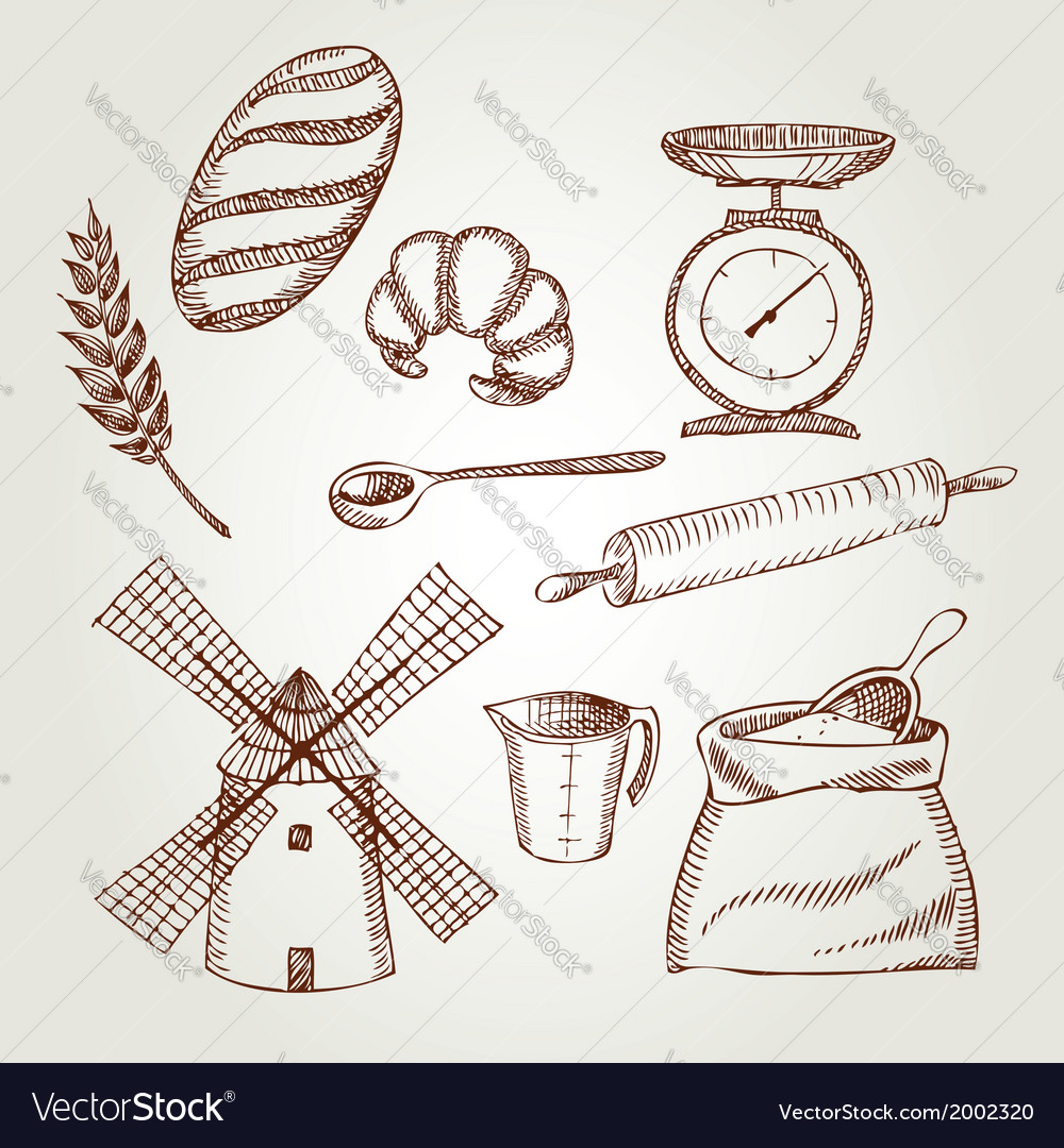 Set of vintage bakery icons retro design vector