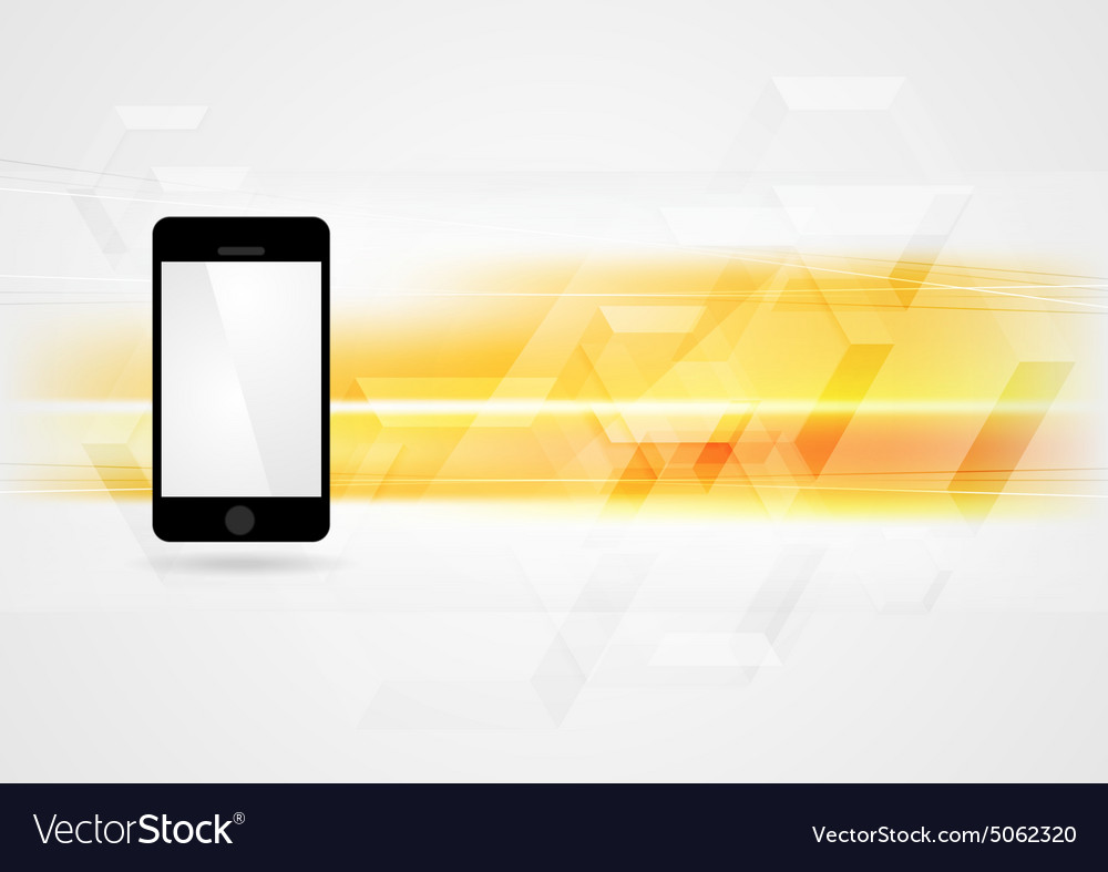 Yellow technology background with smartphone vector